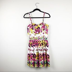 Guess Floral Sweetheart Sleeveless Fit/Flare Dress